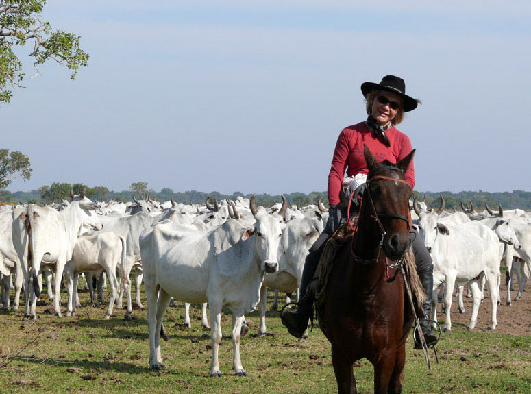 Myriam Comte at the cattle drive